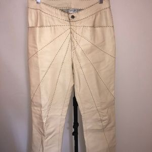 Vintage White Leather Bell Bottoms